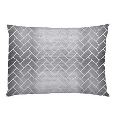 Brick2 White Marble & Silver Brushed Metal Pillow Case