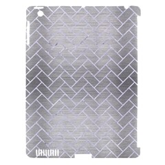 Brick2 White Marble & Silver Brushed Metal Apple Ipad 3/4 Hardshell Case (compatible With Smart Cover)