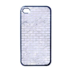 Brick1 White Marble & Silver Brushed Metal (r) Apple Iphone 4 Case (black)