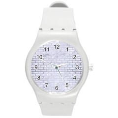 Brick1 White Marble & Silver Brushed Metal (r) Round Plastic Sport Watch (m)