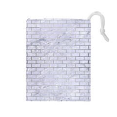 Brick1 White Marble & Silver Brushed Metal (r) Drawstring Pouches (large)