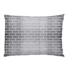 Brick1 White Marble & Silver Brushed Metal Pillow Case