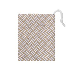 Woven2 White Marble & Sand Drawstring Pouches (medium)