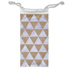 Triangle3 White Marble & Sand Jewelry Bag