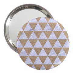 Triangle3 White Marble & Sand 3  Handbag Mirrors