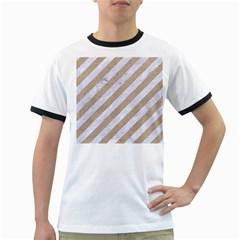 Stripes3 White Marble & Sand (r) Ringer T Shirts