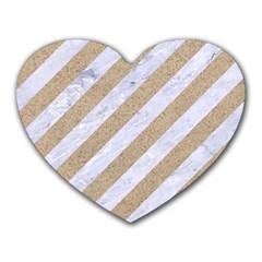 Stripes3 White Marble & Sand (r) Heart Mousepads