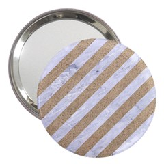 Stripes3 White Marble & Sand (r) 3  Handbag Mirrors