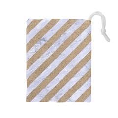 Stripes3 White Marble & Sand (r) Drawstring Pouches (large)