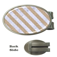 Stripes3 White Marble & Sand Money Clips (oval)