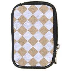Square2 White Marble & Sand Compact Camera Cases