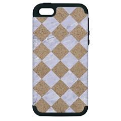 Square2 White Marble & Sand Apple Iphone 5 Hardshell Case (pc+silicone)