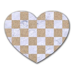 Square1 White Marble & Sand Heart Mousepads