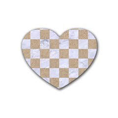 Square1 White Marble & Sand Rubber Coaster (heart)