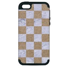 Square1 White Marble & Sand Apple Iphone 5 Hardshell Case (pc+silicone)