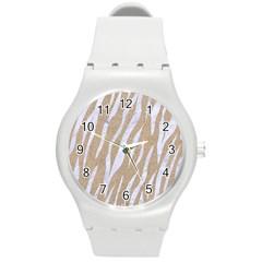 Skin3 White Marble & Sand Round Plastic Sport Watch (m)