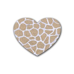 Skin1 White Marble & Sand (r) Rubber Coaster (heart)