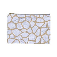 Skin1 White Marble & Sand Cosmetic Bag (large)