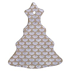Scales3 White Marble & Sand (r) Christmas Tree Ornament (two Sides)