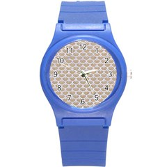Scales3 White Marble & Sand Round Plastic Sport Watch (s)