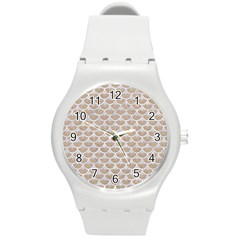 Scales3 White Marble & Sand Round Plastic Sport Watch (m)