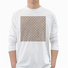 Scales2 White Marble & Sand White Long Sleeve T Shirts