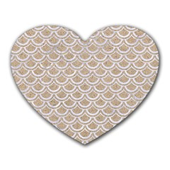 Scales2 White Marble & Sand Heart Mousepads