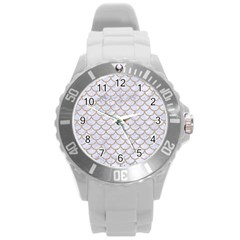 Scales1 White Marble & Sand (r) Round Plastic Sport Watch (l)