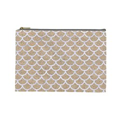 Scales1 White Marble & Sand Cosmetic Bag (large)