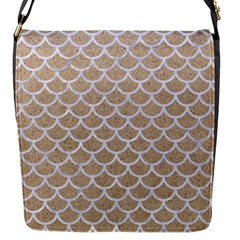 Scales1 White Marble & Sand Flap Messenger Bag (s)