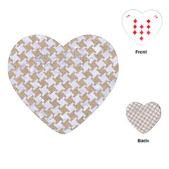Houndstooth2 White Marble & Sand Playing Cards (heart)