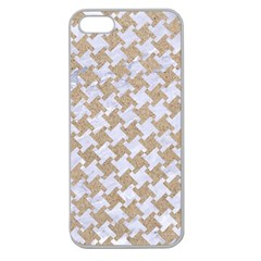 Houndstooth2 White Marble & Sand Apple Seamless Iphone 5 Case (clear)