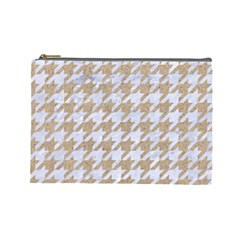 Houndstooth1 White Marble & Sand Cosmetic Bag (large)