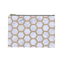 Hexagon2 White Marble & Sand (r) Cosmetic Bag (large)