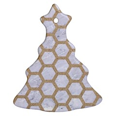 Hexagon2 White Marble & Sand (r) Christmas Tree Ornament (two Sides)