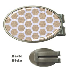 Hexagon2 White Marble & Sand Money Clips (oval)