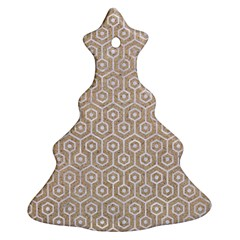 Hexagon1 White Marble & Sand Christmas Tree Ornament (two Sides)