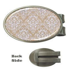 Damask1 White Marble & Sand Money Clips (oval)