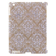Damask1 White Marble & Sand Apple Ipad 3/4 Hardshell Case (compatible With Smart Cover)