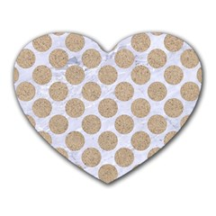 Circles2 White Marble & Sand (r) Heart Mousepads