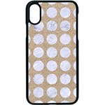 CIRCLES1 WHITE MARBLE & SAND Apple iPhone X Seamless Case (Black) Front