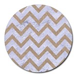 CHEVRON9 WHITE MARBLE & SAND (R) Round Mousepads Front