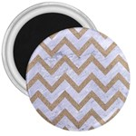 CHEVRON9 WHITE MARBLE & SAND (R) 3  Magnets Front