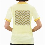 CHEVRON9 WHITE MARBLE & SAND (R) Women s Fitted Ringer T-Shirts Back