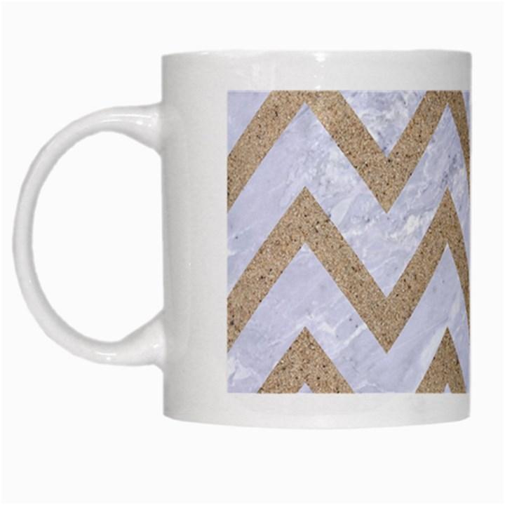 CHEVRON9 WHITE MARBLE & SAND (R) White Mugs