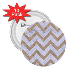 Chevron9 White Marble & Sand (r) 2 25  Buttons (10 Pack)