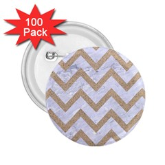 Chevron9 White Marble & Sand (r) 2 25  Buttons (100 Pack)