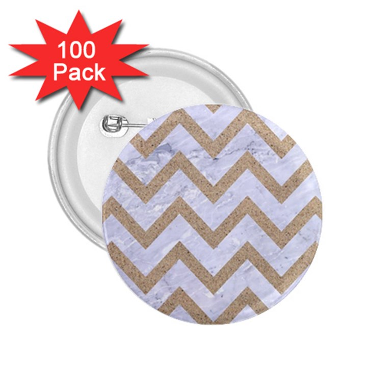 CHEVRON9 WHITE MARBLE & SAND (R) 2.25  Buttons (100 pack)