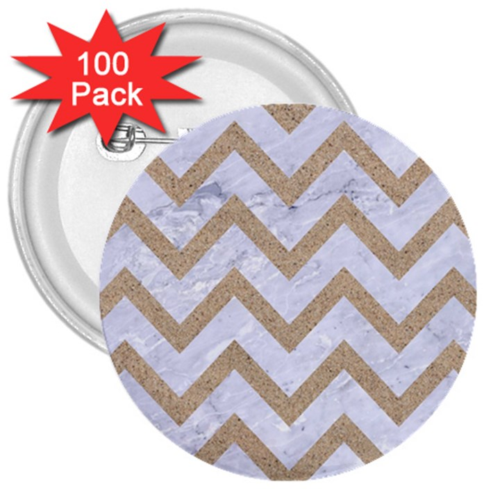 CHEVRON9 WHITE MARBLE & SAND (R) 3  Buttons (100 pack)