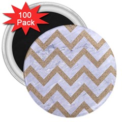 Chevron9 White Marble & Sand (r) 3  Magnets (100 Pack)